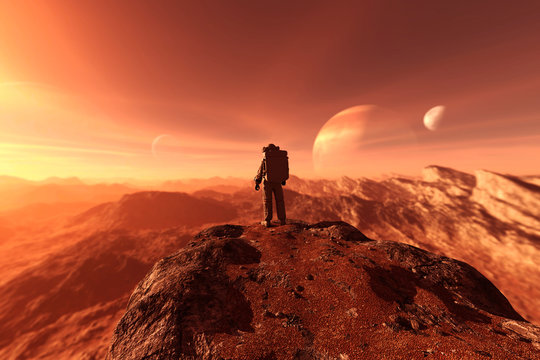 astronaut enter into derelict planet or doing some exploration on a new planet he discover,3d rendering of sci-fi concept