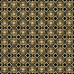 Admirable seamless gold  pattern with a classic ornate on a black background