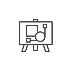 Artboard outline icon. linear style sign for mobile concept and web design. Easel with picture simple line vector icon. Symbol, logo illustration. Pixel perfect vector graphics