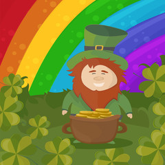 Saint Patricks Day Card Design - Treasure of Leprechaun on rainbow Background