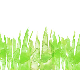 Watercolor background, line of green paint, splash, smear, blot, abstraction. Used for a variety of design and decoration. Strokes of paint, zigzag, lines, splash. Horizontal line. Green wild grass