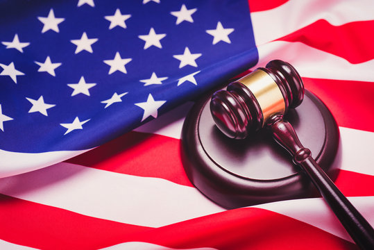 the judge gavel and background with usa flag