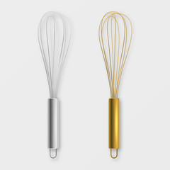 Vector realistic 3D metal wire steel whisk icon set - silver and gold - closeup isolated on white background. Cooking utensil, egg beater. Design template for graphics, mockup