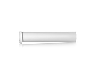 Round white matte aluminum tube with cap for effervescent or carbon tablets, pills, vitamins. Realistic packaging vector mockup template. Side view