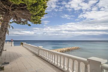 Maritime promenade view of Ametlla de Mar, catalan village of Costa Daurada.Spain.