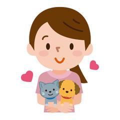 ペットを抱っこする女性