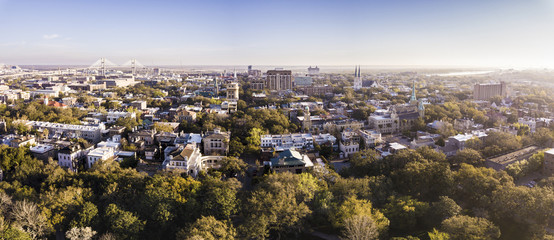 Aerial view of historic district of Savannah, Georgia.