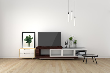 Smart TV Mock-up on empty room, living room tropical style. 3D rendering