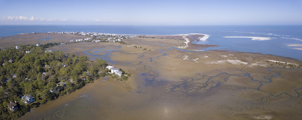 Aerial view of waterfront properties on Harbor Island, South Carolina.