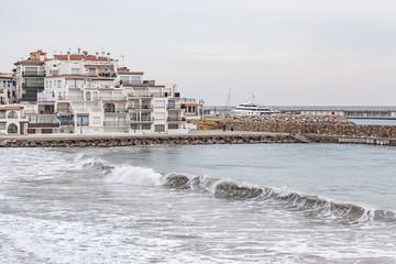 Village view, mediterrean sea, Roc Sant Gaieta, Roda de Bera, Costa Daurada, province Tarragona, Catalonia.Spain.