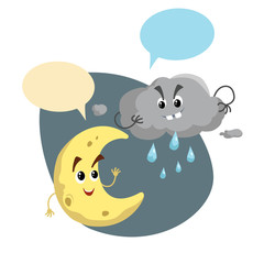 Cartoon smiling crescent and storm cloud mascots. Weather  symbol. Moon and rain speaking character. Dummy speech bubbles. Vector illustration icon.