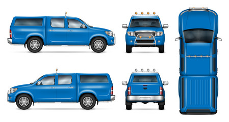 Pickup truck vector mock-up. Isolated template of blue car on white. Vehicle branding mockup. Side, front, back, top view. All elements in the groups on separate layers. Easy to edit and recolor.