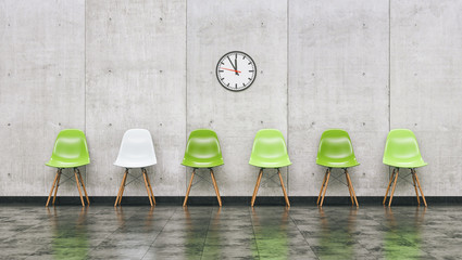Row of green chairs in a waiting room with wall clock, business concept image - 3D rendering