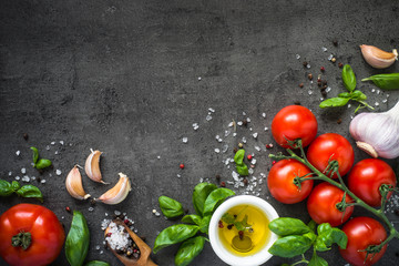 Ingredients for cooking. Food background top view. Wall mural