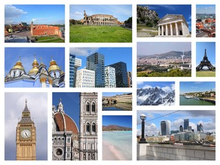 Europe travel photos - postcard collage
