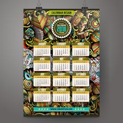 Cartoon colorful hand drawn doodles Latin America 2018 year calendar