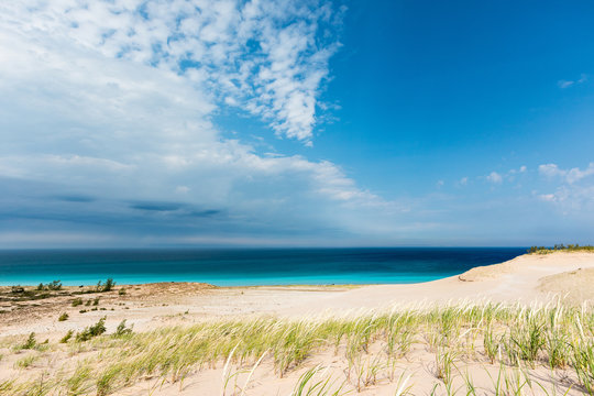 Azure Sky and Waters at Sleeping Bear Dunes National Lakeshore, USA