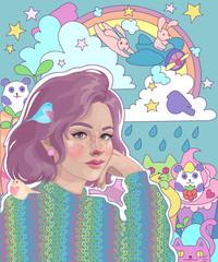 vector girl dreamer and her bright inner world: rainbow, rabbits, cats, pandas, sweets, fantasies and dreams