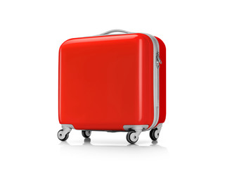 Red plastic suitcase or luggage for traveler isolated on white background