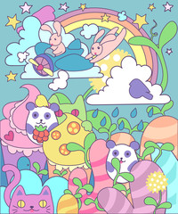 vector bright magic cute world of little animals and sweets: hares pilots on the plane, seals, pandas among the kingdom of sweets and desserts