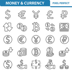 Money and Currency Icons. Professional, pixel perfect icons depicting various finance, money and currency concepts. EPS 8 format.