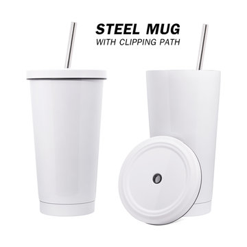 Water steel mug and tube isolated on white background. Insulated water container mug. ( Clipping path )