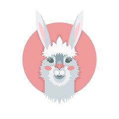 Happy Easter. Vector template with gray rabbit for card, poster, flyer and other users. Design element.