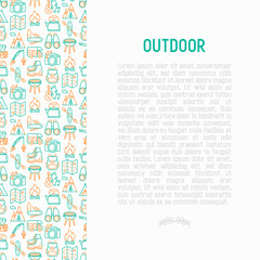 Outdoor concept with thin line icons: mountains, backpack, uncle boots, kettle, axe, map, swiss knife, canoe, camera, fishing rod, binoculars. Vector illustration for print media, web page template.