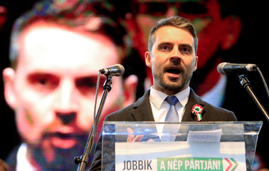 Chairman of the Hungarian right wing opposition party Jobbik Gabor Vona speaks at a rally during Hungary's National Day celebrations in Budapest