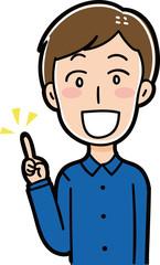 指差しをする男性のイラスト