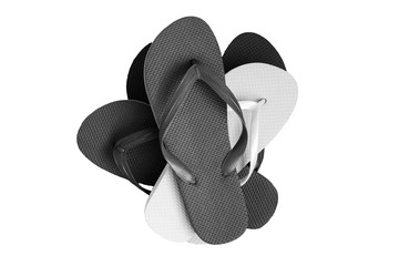 A stack of several pairs of multi-colored rubber flip-flops, isolated