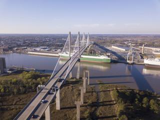Aerial shot of the Talmadge Memorial bridge in Savannah, Georgia.
