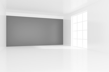 Empty bright office room with light ray on wall. 3D Rendering