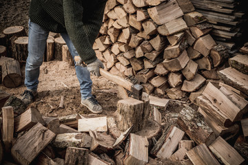 Firewood and ax