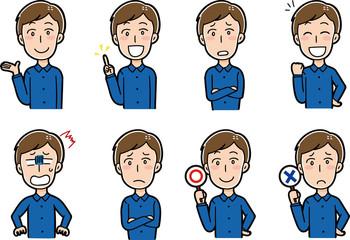 男性の表情パターンイラスト素材