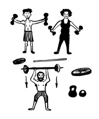 drawing set of pictures of cheerful athletes, men and women engaged in weight lifting, sketch, hand-drawn vector illustration