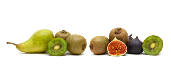pear, kiwi and figs on a white background