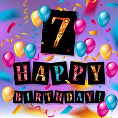 7th Birthday Celebration greeting card Design