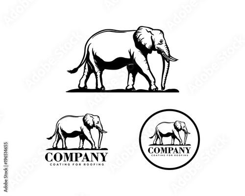 Cute And Strong Elephant Animal Illustration Hand Drawing Symbol Vintage Circle Logo Vector Set