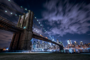 Under the Brooklyn Bridge loooking at New York City skyline