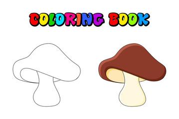 boletus mushroom coloring book isolated on white background