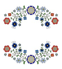 Traditional, modern Polish - Kashubian floral folk decoration vector