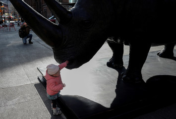 "A young girl touches ""The Last Three"" a life-size Rhino sculpture created by Australian artists and conservationists Gillie and Marc in Astor Place in the Manhattan borough of New York City"