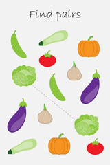 Find pairs of identical pictures, fun education game with different vegetables for children, preschool worksheet activity for kids, task for the development of logical thinking, vector illustration