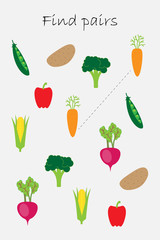 Find pairs of identical pictures, fun education game with vegetables for children, preschool worksheet activity for kids, task for the development of logical thinking, vector illustration
