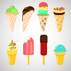 Set of vector ice cream in flat design. Vector illustration, cartoon ice cream set.
