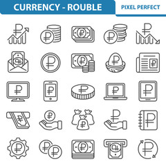 Currency - Rouble Icons. Professional, pixel perfect icons depicting various currency, money and finance concepts. EPS 8 format.