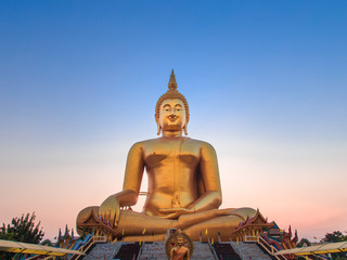 Big Buddha statue in sunset, Thailand.