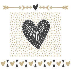 Vector greeting cards on Valentine's Day. Hearts, love, arrows.