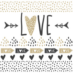 Vector greeting cards on Valentine's Day. Hearts and love.